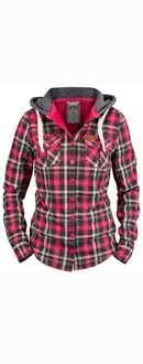 Womens Richardson Rose Red Hooded Shirt